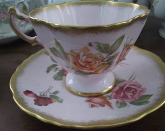 Vintage Hammersley Tea Cup & Saucer - Morgan's Rose - Pink and Gold
