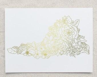 Botanical Virginia Foil Print