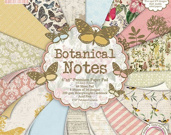 First Editon Botanical Notes 6x6 paper pad stack 16 sheet sample pack