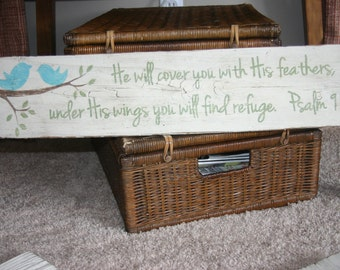 psalm 91:4 painted wood sign/ painted rustic bird sign