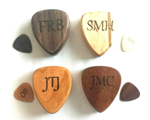 personalized wooden guitar pick box cherry by handmadebybryanc. Black Bedroom Furniture Sets. Home Design Ideas