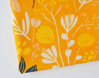 hand drawn flower fabric   mustard yellow floral   Bare Nopal Gleam Morning Walk by Leah Duncan for Art Gallery fabric by the yard, botanicl