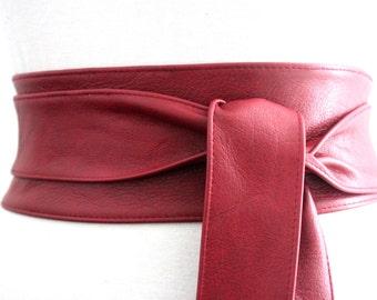 Deep Red Leather Corset Obi Belt | Waist Sash Belt | Leather tie wrap belt | Real Leather Belt| Plus Size