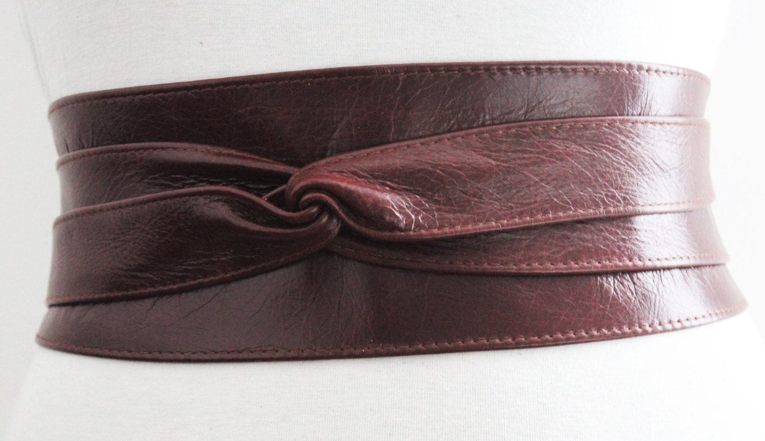 sale vintage brown leather obi belt wrap tie waist by