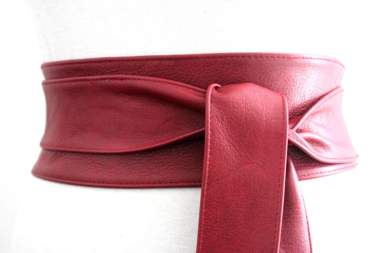 Sale Deep Red Leather Corset Obi Belt Waist Sash By Loveyaayaa