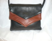 Black & Brown  Small leather cross body multi comp.bag. Style #176 2-T