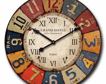 Cafe Home Decor Large 60cm Vintage Industrial Rustic Colourful Signs Style Decorative Metal Wall Clock