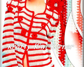 Crochet Stripe Red and White Jacket - Made to Order