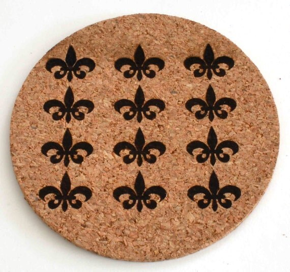 Items Similar To Fleur De Lis Drinks Coasters Cork Laser