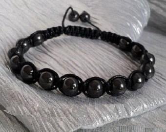 Crystal healing bracelet, Magnetic hematite bracelet, Hematite Beads, Homeopathic healing, Shambala Bracelet, Unisex Bracelet