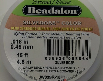 Beadalon 7 Strands Silver Rose  Bead Stringing Wire / .046mm / 15ft / .018in