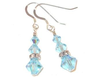 AQUAMARINE Blue Crystal Earrings Sterling Silver Dangle Swarovski Elements - Clip-on or Pierced