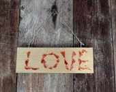Love sign plaque – Wood and enameled copper handmade sign
