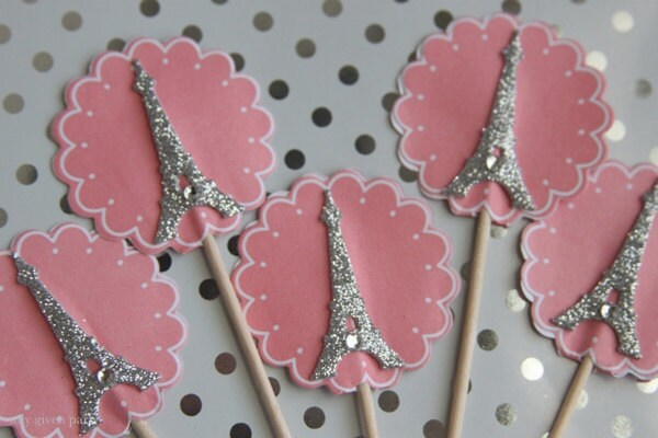eiffel tower cupcake toppers or food picks themed