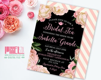 Vintage Floral Bridal Tea Invitation, Peony Brunch Invite - CUSTOMIZABLE PRINTABLE INVITATION - Shabby Chic, Pink and Black, Junior League