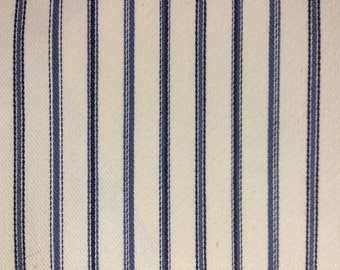 Navy and White Pin Stripe - Upholstery Fabric By The Yard