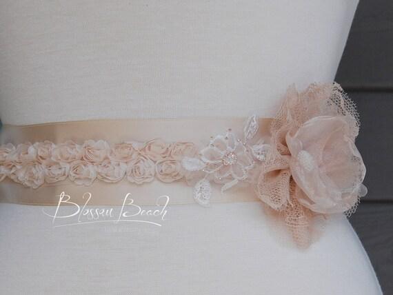 Champagne floral satin ribbon bridal sash/belt;floral bridal belt; beaded bridal belt