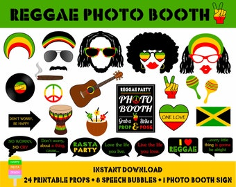 PRINTABLE Reggae Photo Booth Props–Jamaica Travel Props-Rasta, Jamaica, Beach,Reggae,Music,Party Printables-Reggae Props-Instant Download