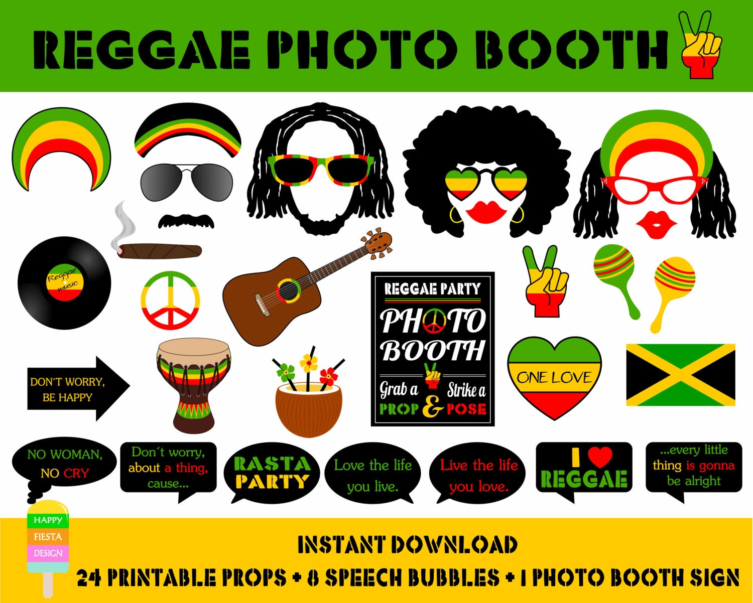 PRINTABLE Reggae Photo Booth PropsJamaica Travel PropsRasta – Jamaican Party Invitations