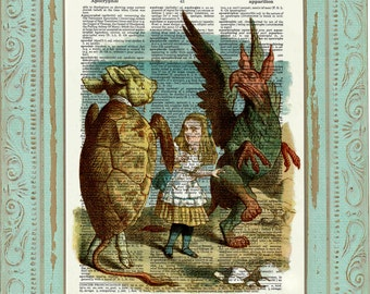 Alice in Wonderland Decor Decoration Alice in Wonderland Art Print Dictionary Print on Book Page Chesire Mad Hatter We are All Mad Here C:05