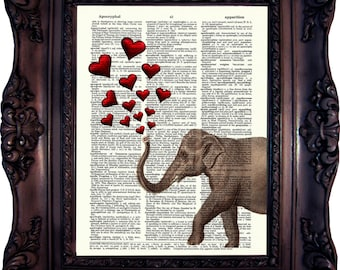 Mother's Day Gift ELEPHANT ART PRINT Girlfriend Gift Wife Gift Best Friend Gift Birthday Gift Anniversary Gift Mom Gift Daughter C:577