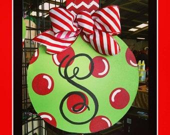 Handcrafted Glittery Wooden Christmas Ornament Door Hanger
