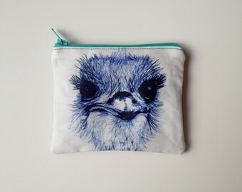 Emu linen coin purse