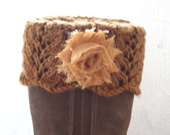 Boot Toppers, Leg Warmers, Boot Cuffs, Lace Leg Warmers, Knit Boot Cuffs, Lace Boot Cuffs, Boot Cuffs with Flowers, Brown Boot Cuffs