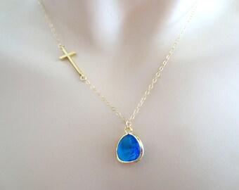 Blue, Ocean, Blue, Stone, Sideways, Cross, Gold, Silver, Necklace, Modern, Simple, Nautical, Birthday, Lovers, Wedding, Gift, Jewelry