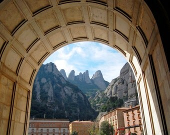 Cliffs of Montserrat through Arch, Barcelona, Spain, Architecture, Travel Photography