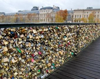 Padlocks on Bridge in Paris, France, Travel Photography