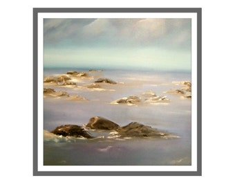 "Original  Painting, 39""x 39"" , Oil Painting , Contemporary art, Modern art,  blue art, sea art, nautical art."