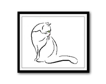 Cat Silhouette, Animal Silhouette Pattern, Cross Stitch Pattern, Silhouettes, PDF - PATTERN ONLY