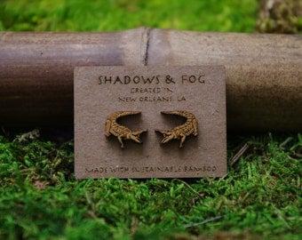 alligator laser cut bamboo stud earrings