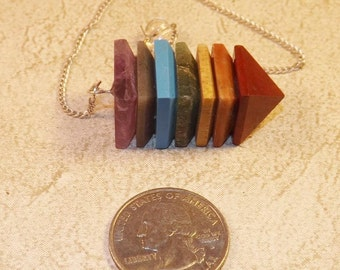 Chakra Pendulum,  7 Layer Chakra Pendulum / Pendant,  Jewelry Supplies, Divination Tool , Meditation, Cleansing, Metaphysical
