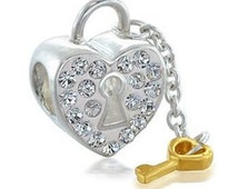 925 Solid STR silver Lock of Love charm/mothers day charm fits Pandora Charm & European charm bracelet/All Crystal Key To my Heart charm