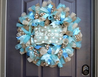 Polka dot welcome ribbon mesh wreath