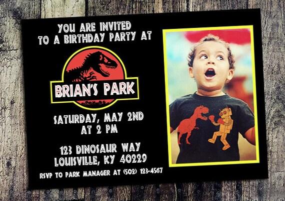 Personalized Jurassic Park Birthday Party Invitation
