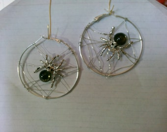 Spider Web Hoop Earrings