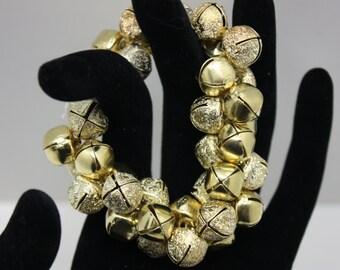 Gold jingle bell stretch bracelet  B341
