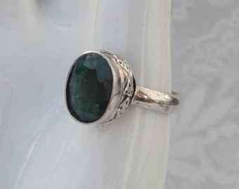 Natural Emerald Ring | .925 Sterling Silver | Size 8 | May Birthstone | Free Shipping And Gift Box/Bag