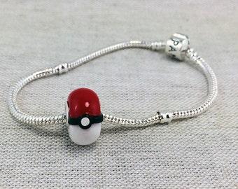 Pokemon Inspired Pokeball Charm Bracelet Bead