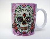 Sugar Skull Mug, Day of the Dead Dia De Los Muertos Ceramic Mug