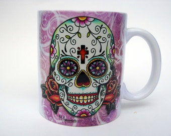 Sugar Skull Mug, Day of the Dead Dia De Los Muertos Ceramic Mug