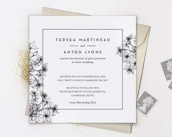 Printable Floral Wedding Invitation / Black and White / Square Cards / Full Suite Available / Digital Files