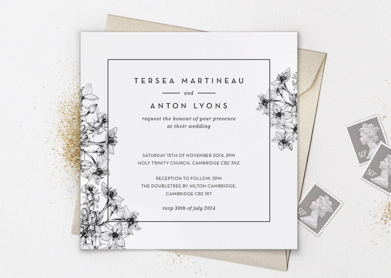 Printable wedding invitation floral line elegant minimal for Minimalist floral wedding invitations