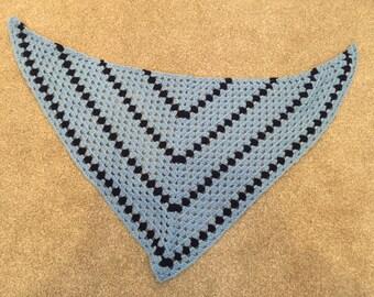 Blue diagonal granny square scarf
