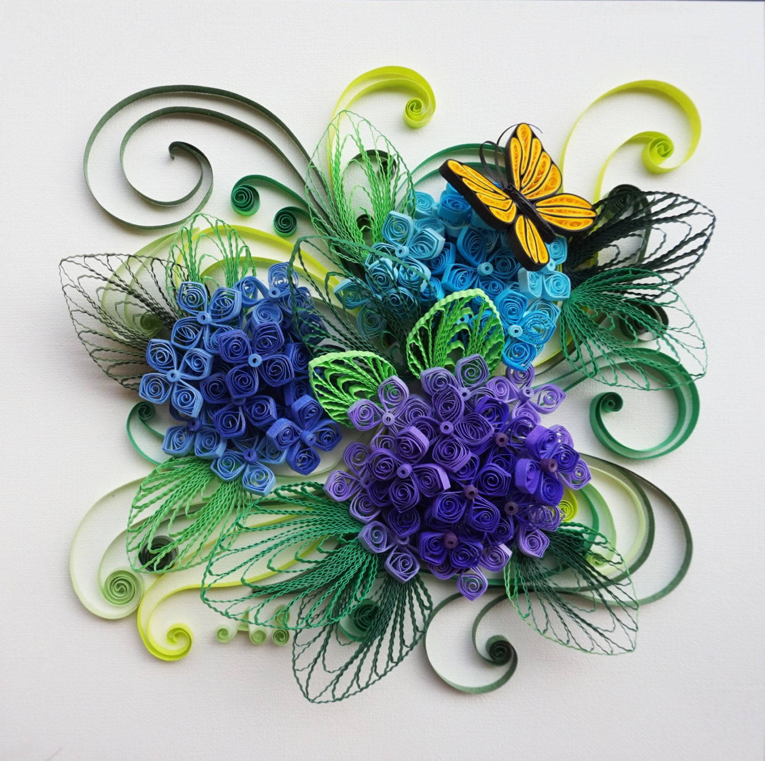 Handmade paper quilling hydrangeas framed in shadow box for Quilling paper craft