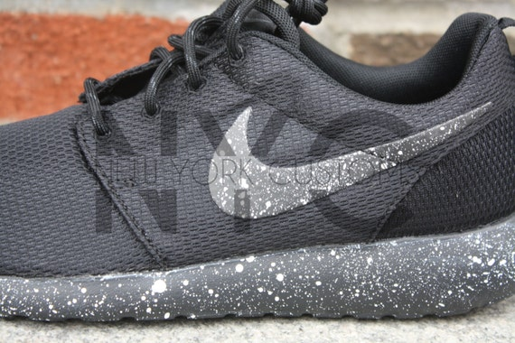 69464198afc1 Nike Roshe One Run Black White Splatter Oreo Speckled by NYCustoms low-cost