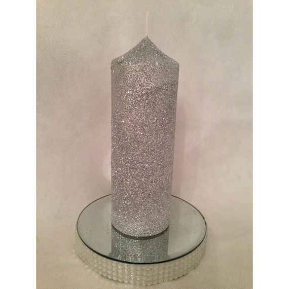 Glitter pillar candle church candle wedding candle for Shimmer pillar candle